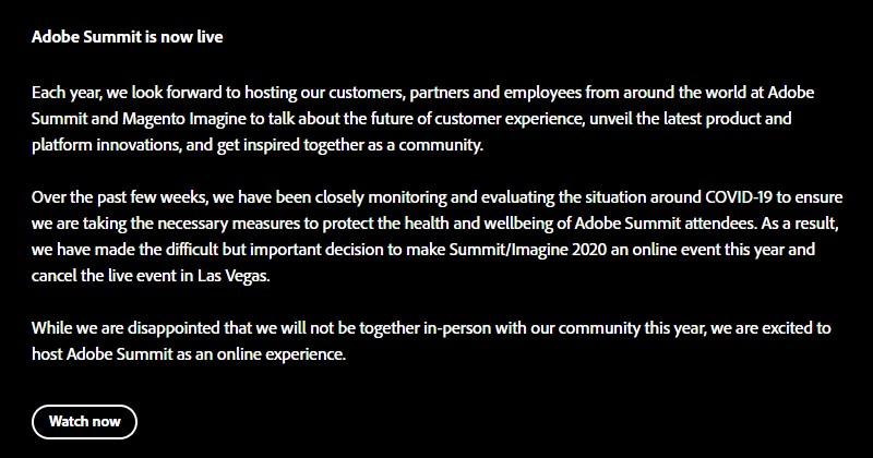 Adobe Summit 2020 online