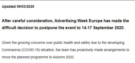 Advertising Week adiada em 2020