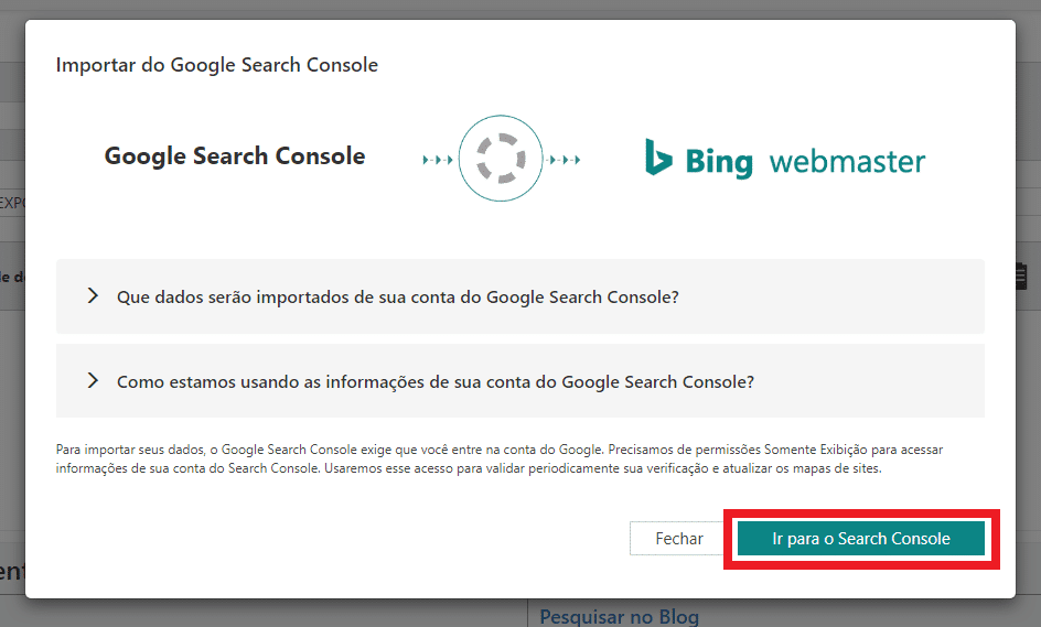 Importar dados do Google Search Console