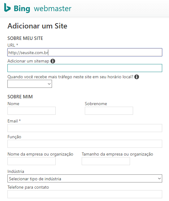 Novo site no Bing