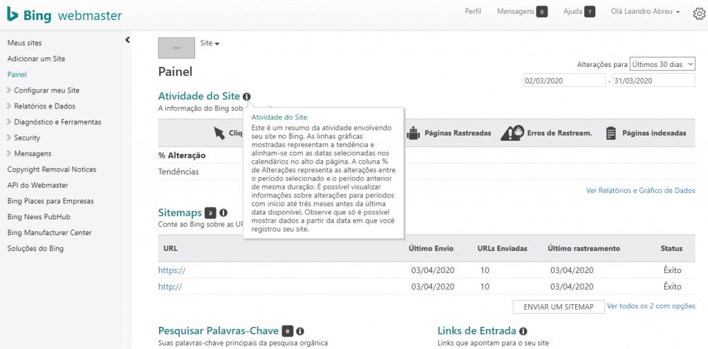Atividade do site no Bing Webmaster Tools