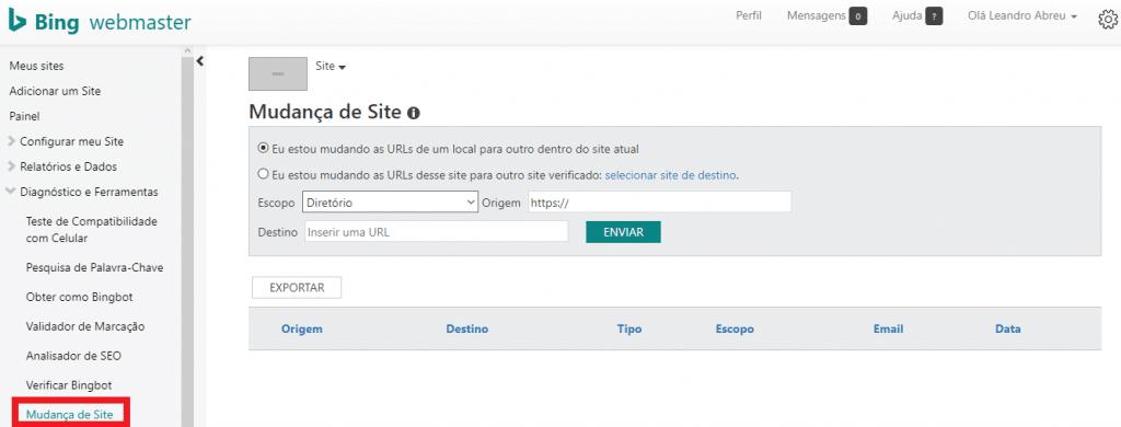 Mudança de site Bing Webmaster
