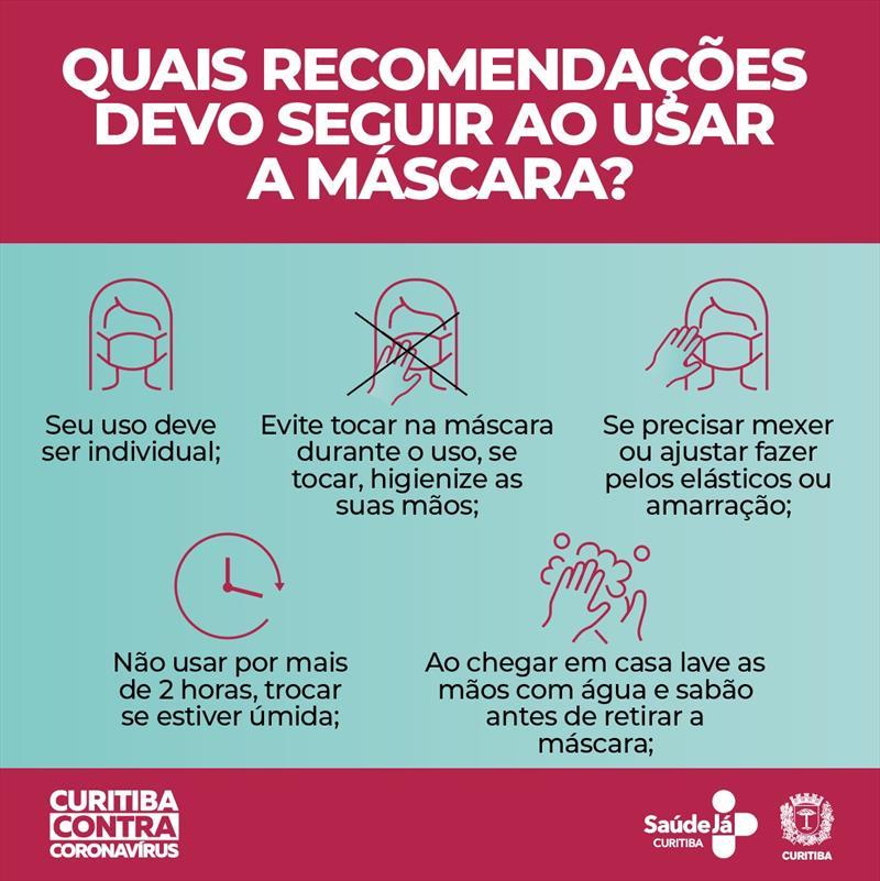 cartilha com recomendações de como usar a máscara contra o coronavírus