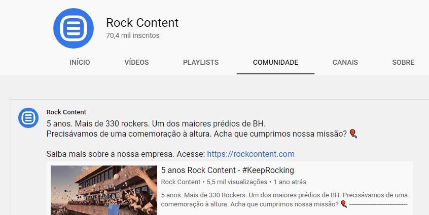 Exemplo de comunidade no Youtube