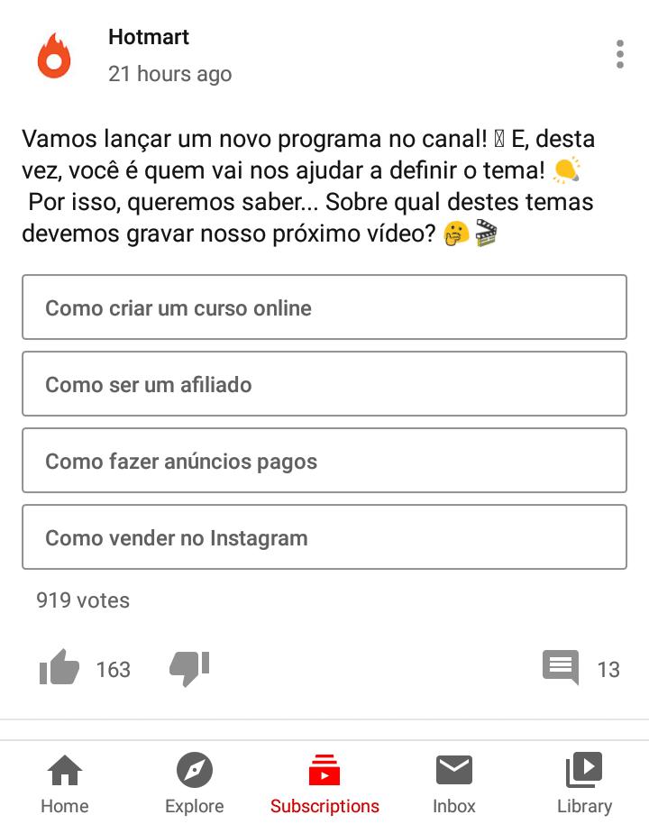 Enquetes no Youtube