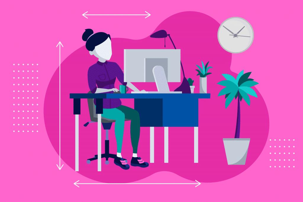 ilustração sobre ergonomia no home office