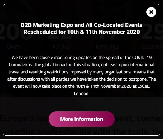 B2B Marketing Expo adiado
