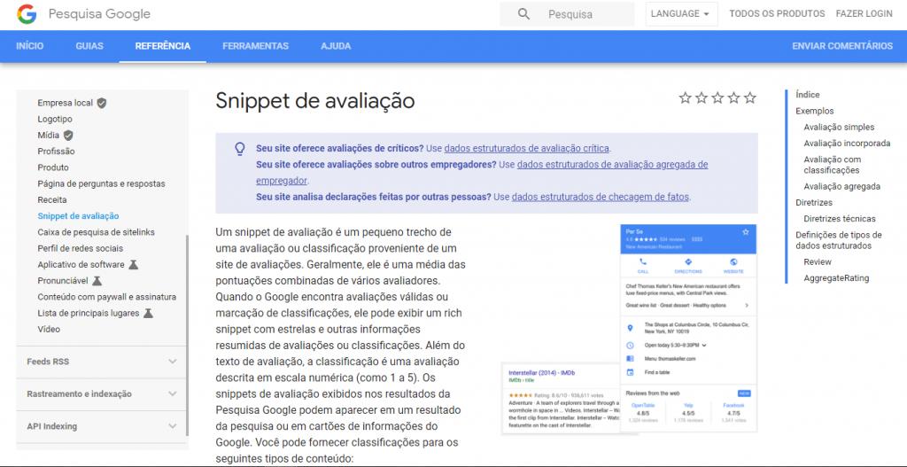 Snippet de avaliação no Google