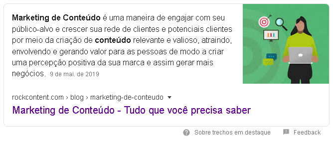 "Featured snippet para ""Marketing de Conteúdo"""