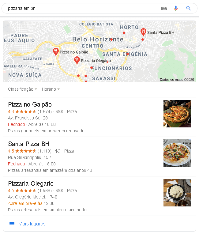 Resultado de busca local no Google