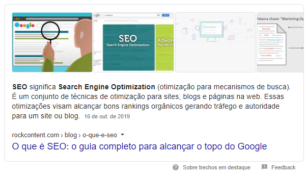 Exemplo de featured snippet