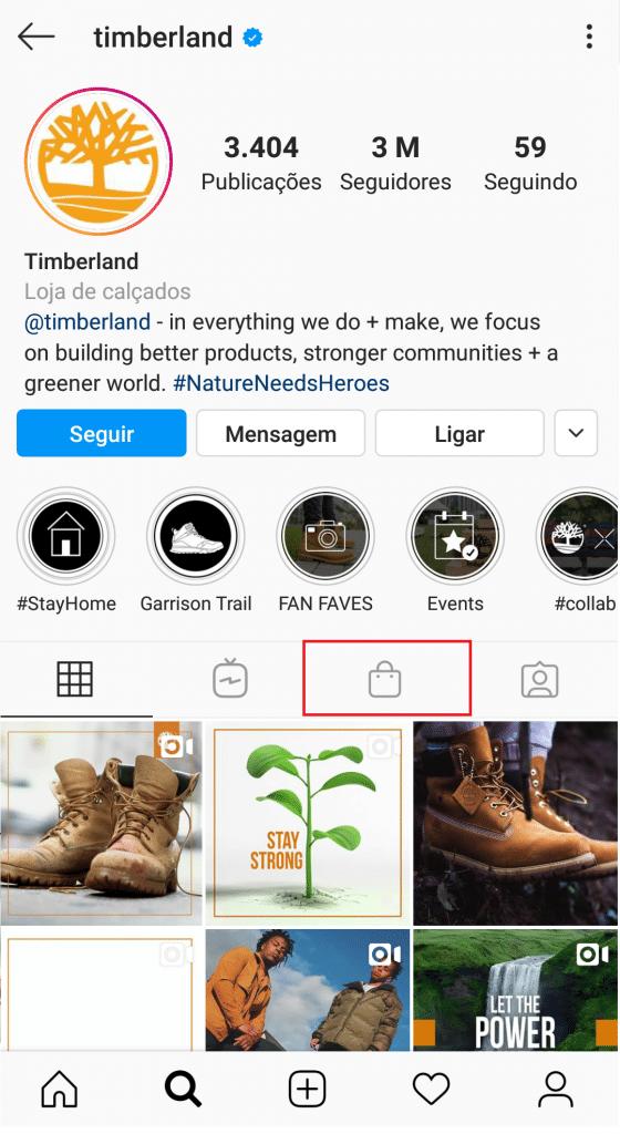 Ícone loja no Instagram