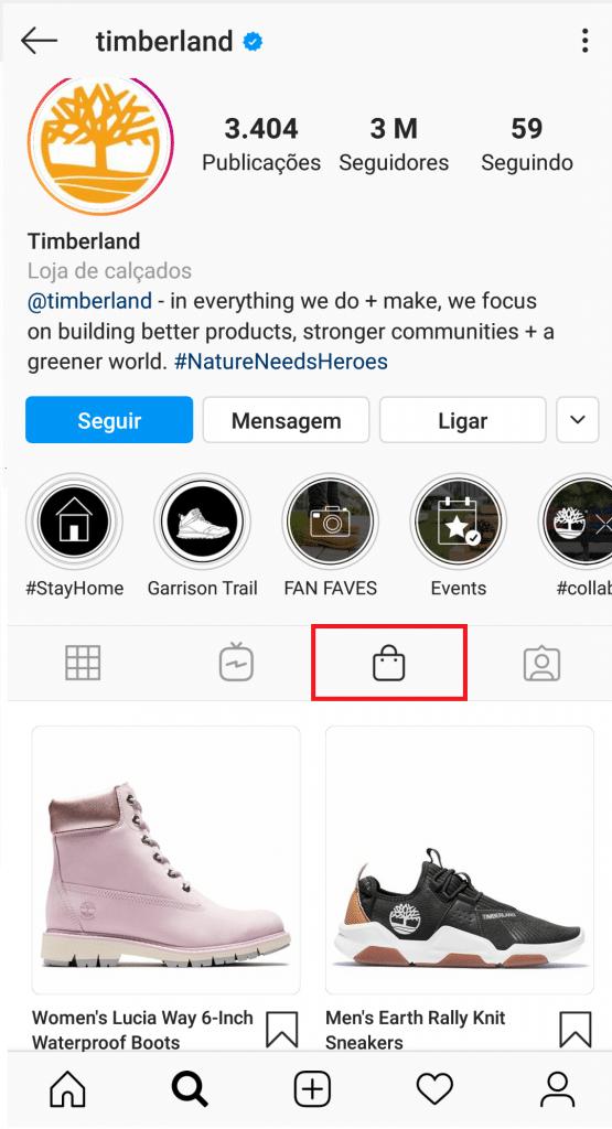 Exemplo de loja no Instagram