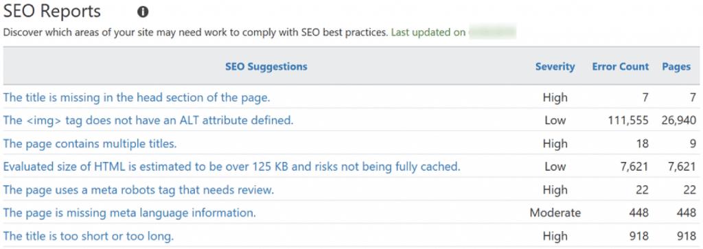 Relatórios de SEO no Bing