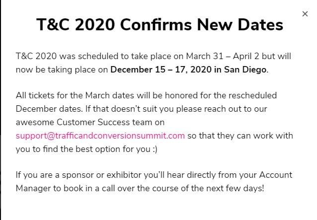 Evento adiado Traffic an Conversion Summit