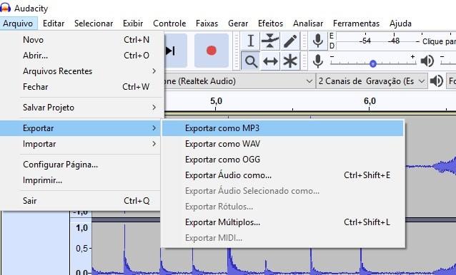 Exportar áudio no Audacity