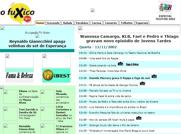Site OFuxico em 2002