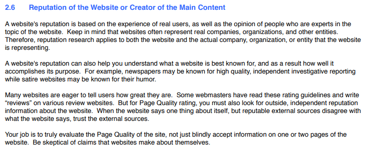 Reputação do site