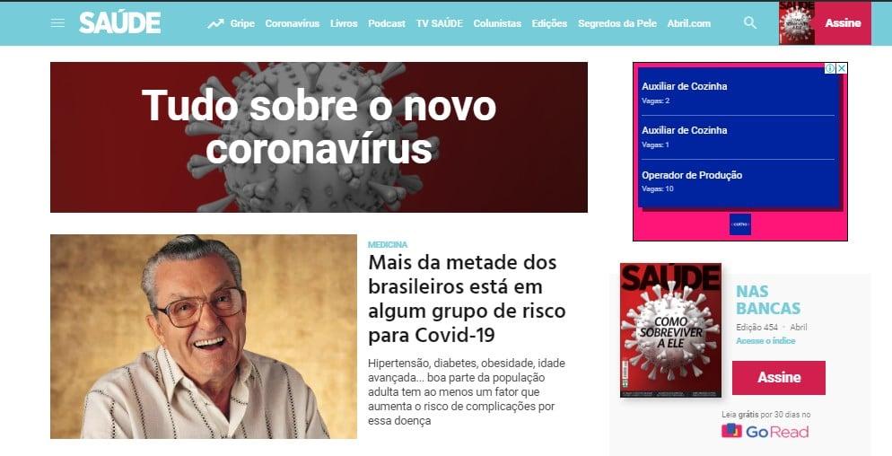 Site de saúde da editora Abril