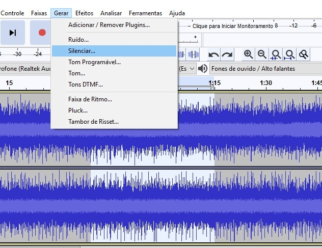 Silenciar parte do áudio