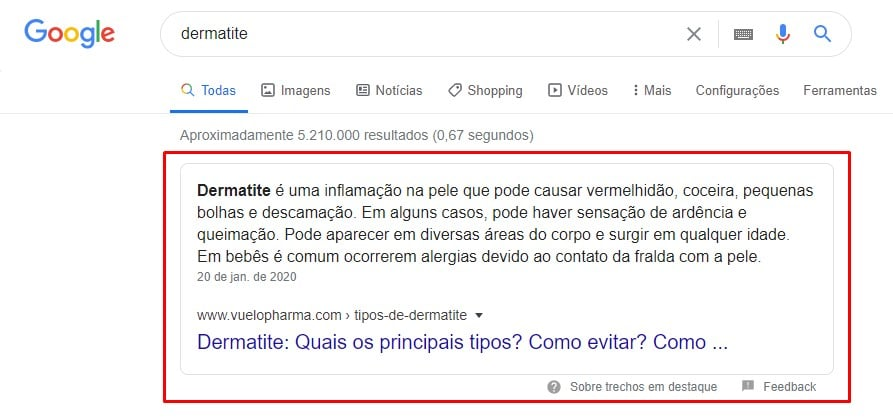 Featured snippet no Google