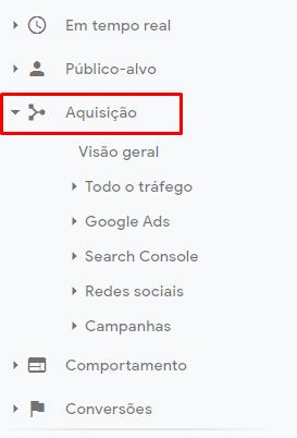 Aquisição no Google Analytics