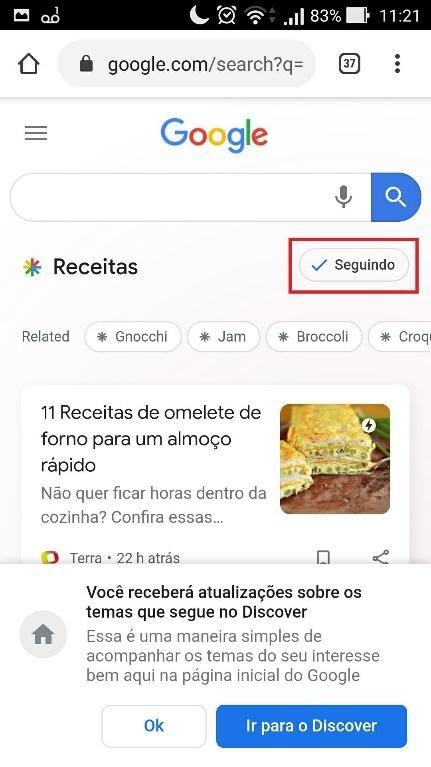 Confirmação de pedido para seguir tópico no Google