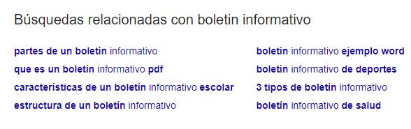 Exemplo das buscas relacionadas
