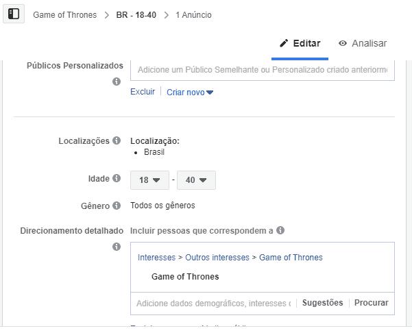 Facebook Ads para divulgação do quiz