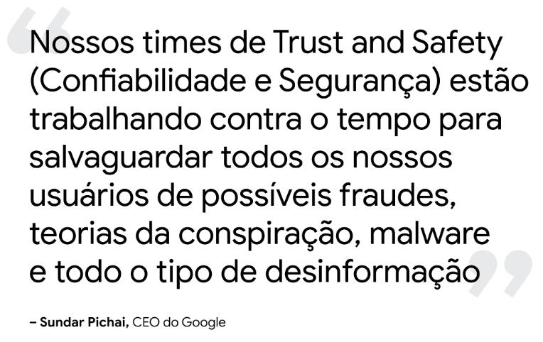 Declaração Google sobre segurança e confiabilidade da informação