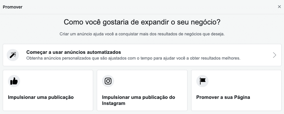 Impulsionar publicação no Facebook