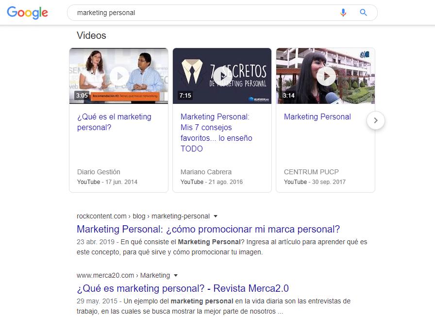 "SERP para ""Marketing Personal"""
