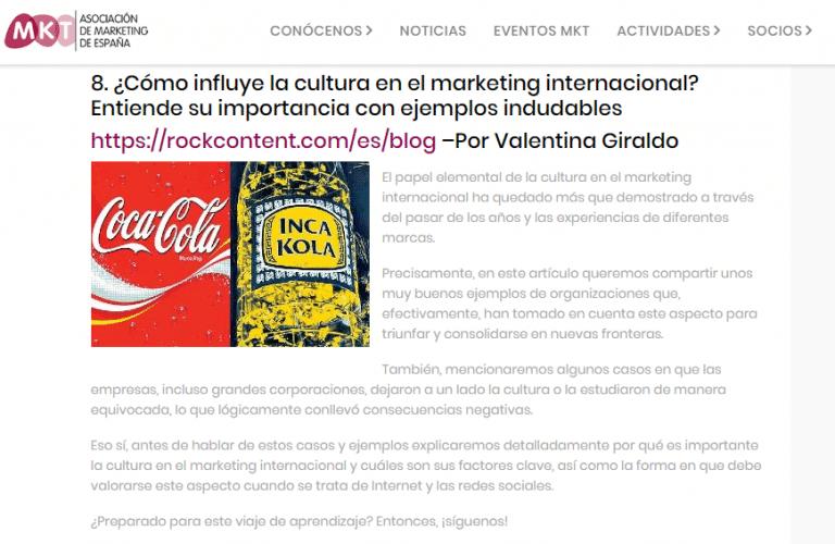 Ranking do melhores conteúdo pela Associação de Marketing da Espanha