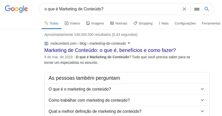 """Resultado no Google para """"O que é Marketing de Conteúdo?"""""""