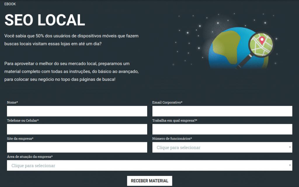 Formulário ebook de SEO local