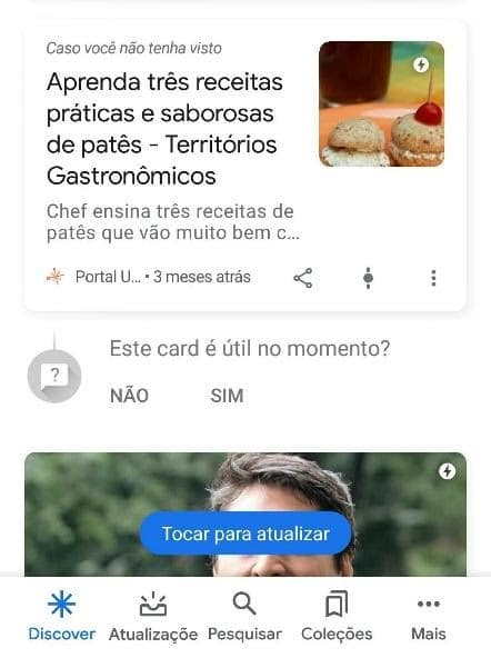 Marcar card Google Discover como útil ou não