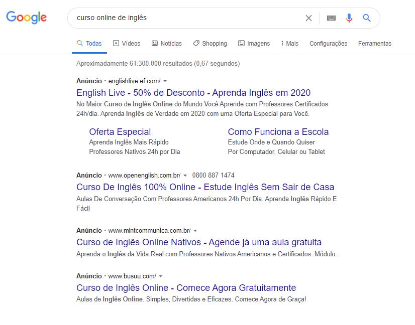 Pesquisa do Google com lista de anúncios