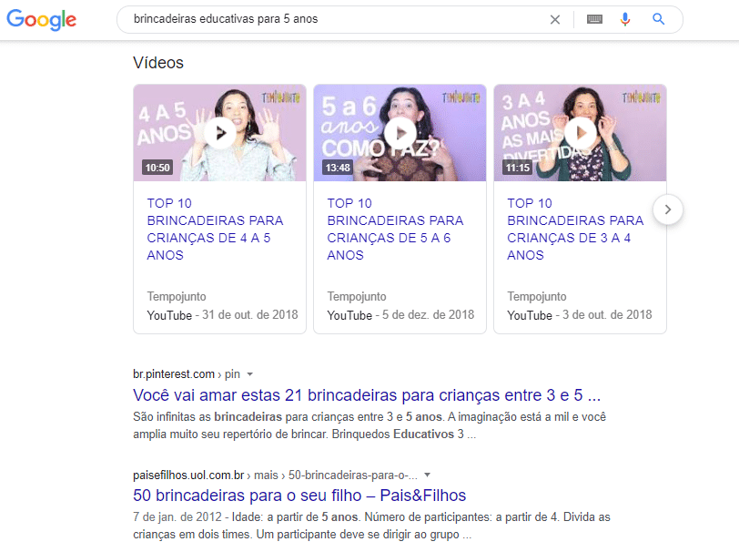 Página de resultados do Google