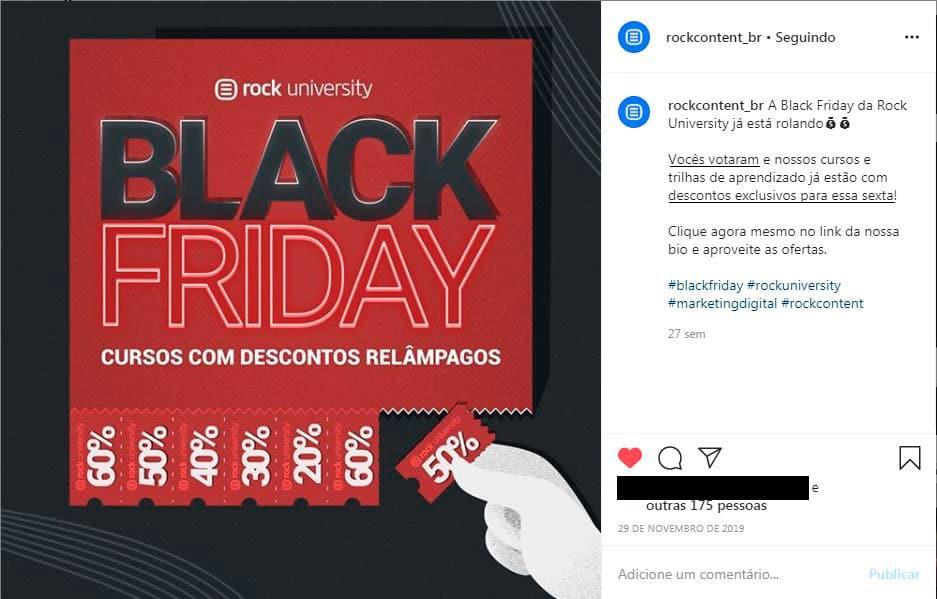 Campanha Black Friday da Rock University