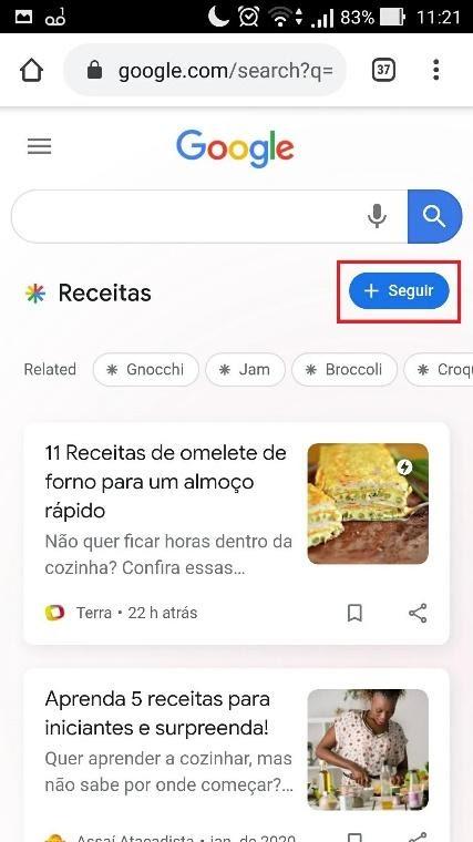 Seguir tópico na SERP do Google