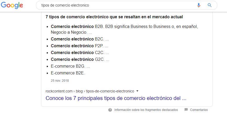 SERP tipos de comércio electronico