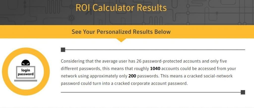 Resultados da calculadora interativa