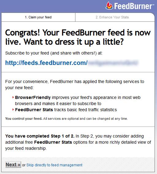 Criação de feed no FeedBurner