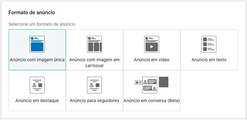 Formato de anúncios do LinkedIn Ads