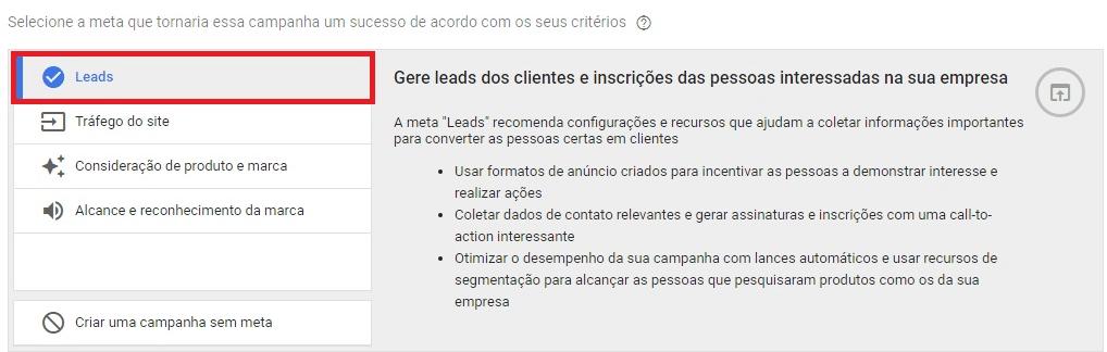 """Selecionar """"leads"""""""