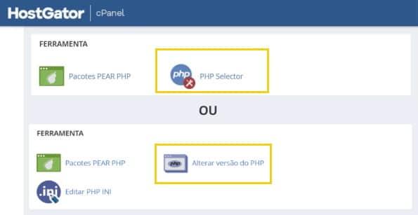 atualizar php hostgator