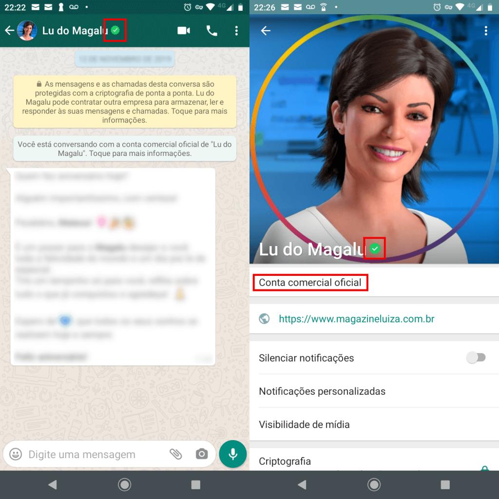 Exemplo de conta comercial no WhatsApp