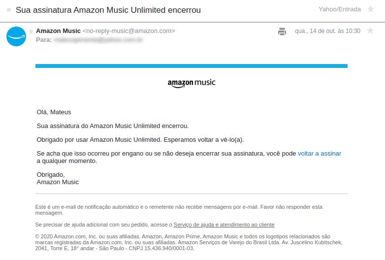 Email de cancelamento Amazon Music