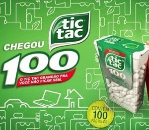 Peça gráfica anuncia Tic-Tac com 100 unidades