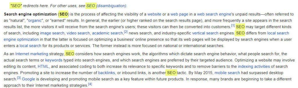 Distribuição de palavras-chave em conteúdo